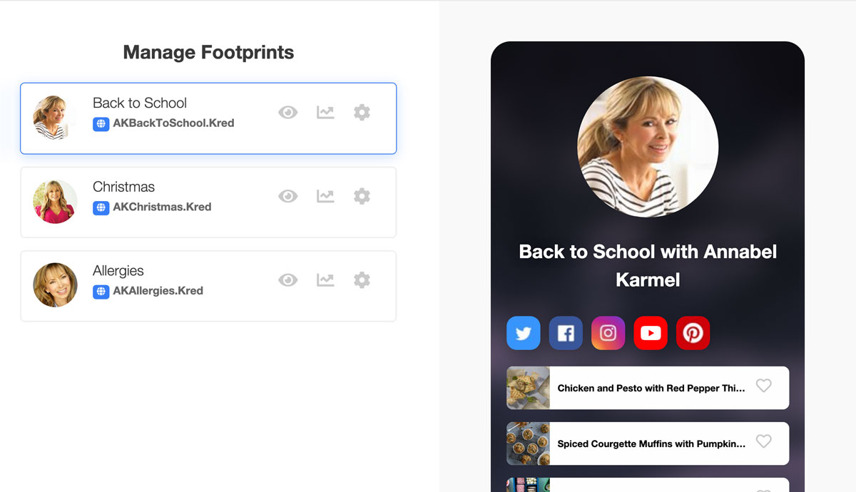 Manage multiple campaign footprints on your dashboard.